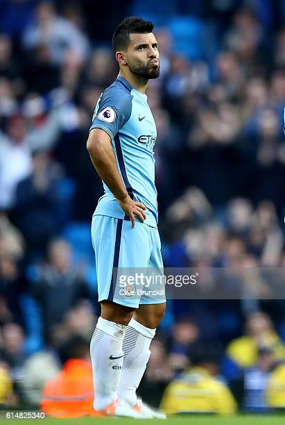 Sergio Aguero of Manchester City shows dejection after the final whistle during the Premier League match between Manchester City and Everton at...