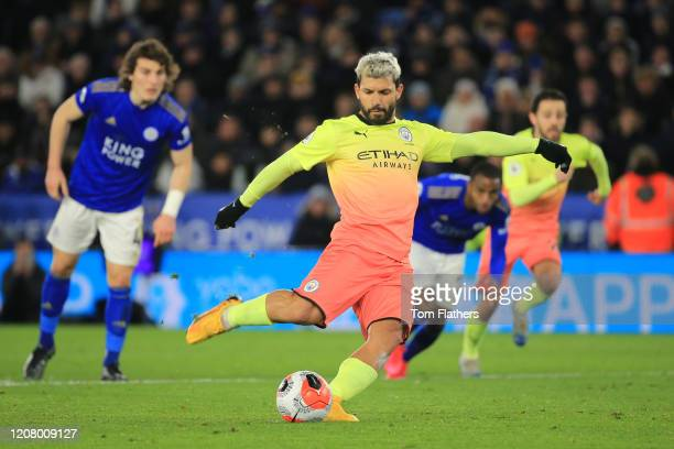 Sergio Aguero of Manchester City takes a penalty kick during the Premier League match between Leicester City and Manchester City at The King Power...