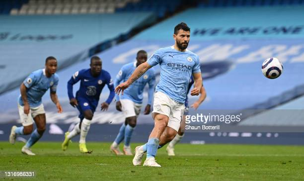 Sergio Aguero of Manchester City takes a penalty that is saved by Edouard Mendy of Chelsea during the Premier League match between Manchester City...