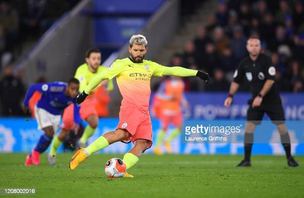 Sergio Aguero of Manchester City takes a penalty which is saved during the Premier League match between Leicester City and Manchester City at The...