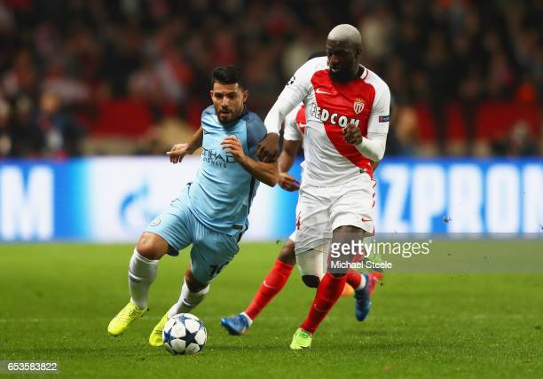 Sergio Aguero of Manchester City takes on Tiemoue Bakayoko of AS Monaco during the UEFA Champions League Round of 16 second leg match between AS...