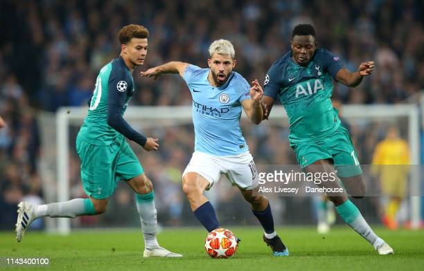 Sergio Aguero of Manchester City takes on Victor Wanyama and Dele Alli of Tottenham Hotspur during the UEFA Champions League Quarter Final second leg...