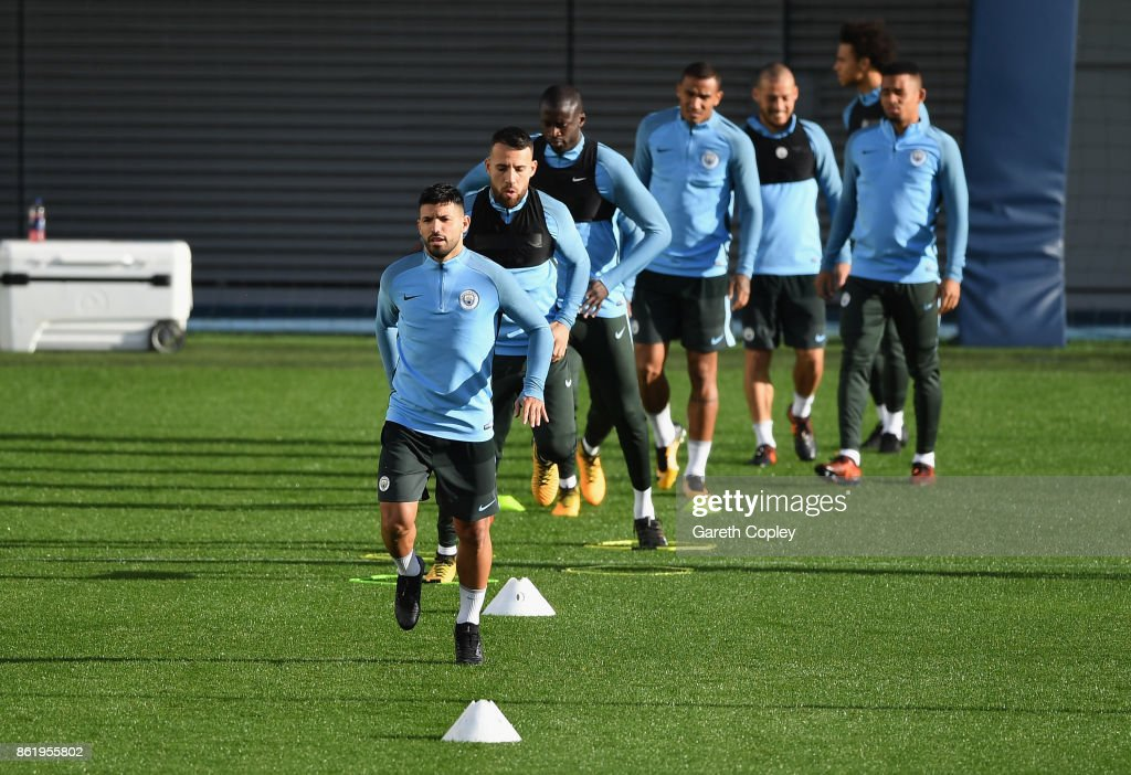 Fotos e imgenes de manchester city training and press conference sergio aguero of manchester city trains during the manchester city training session at the etihad stadium voltagebd Image collections