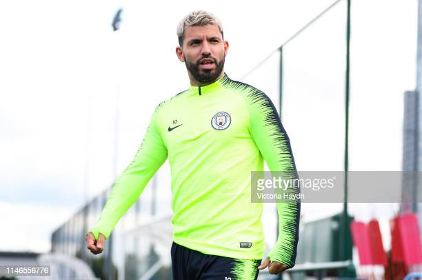 Sergio Aguero of Manchester City walks to the pitch prior to a training session at Manchester City Football Academy on May 02 2019 in Manchester...