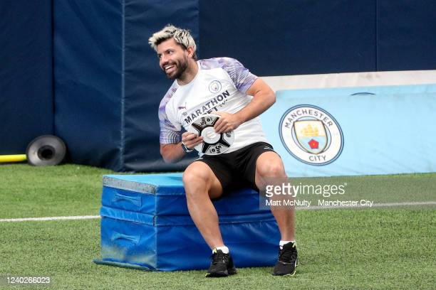 Sergio Aguero of Manchester City warms up during the training session at Manchester City Football Academy on June 01 2020 in Manchester England