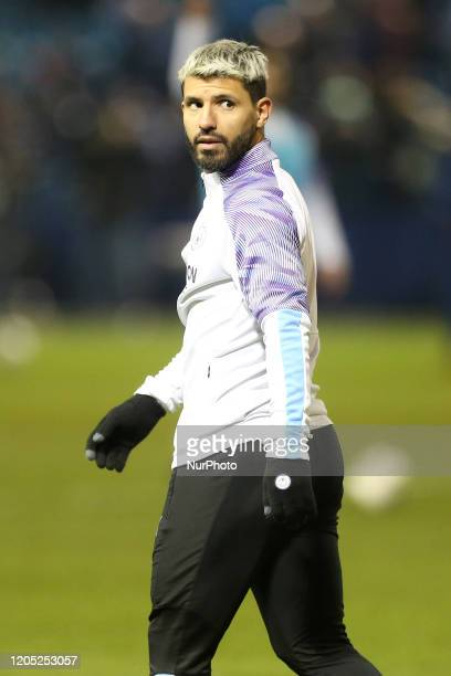 Sergio Aguero of Manchester City warms up prior to the FA Cup Fifth Road match between Sheffield Wednesday and Manchester City at Hillsborough...