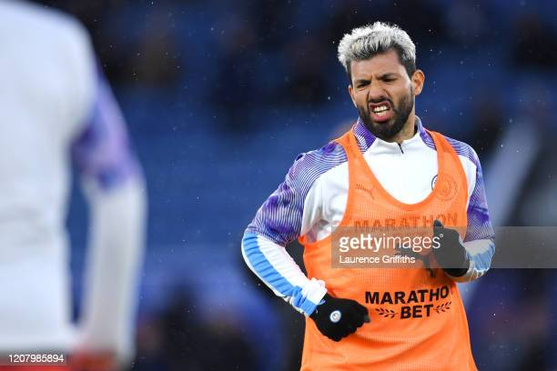Sergio Aguero of Manchester City warms up prior to the Premier League match between Leicester City and Manchester City at The King Power Stadium on...