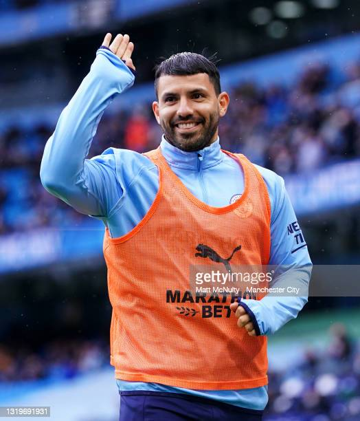 Sergio Aguero of Manchester City waves to the fans during the Premier League match between Manchester City and Everton at Etihad Stadium on May 23,...