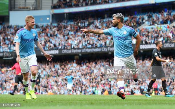 Sergio Aguero of Manhester City celebrates after scoring his team's second goal during the Premier League match between Manchester City and Brighton...