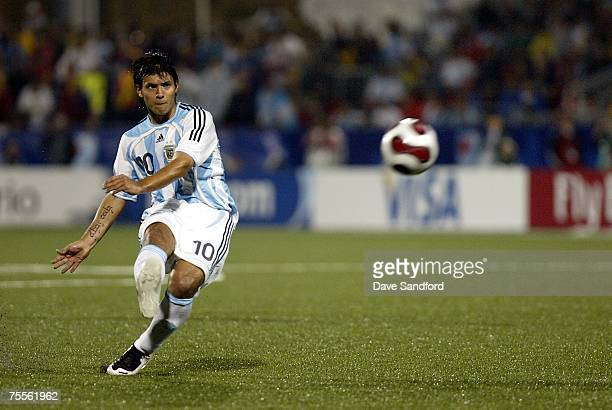 Sergio Aguero of Team Argentina takes a free kick against Team Chile during their FIFA U-19 World Cup Canada 2007 semi-final game at BMO Field on...