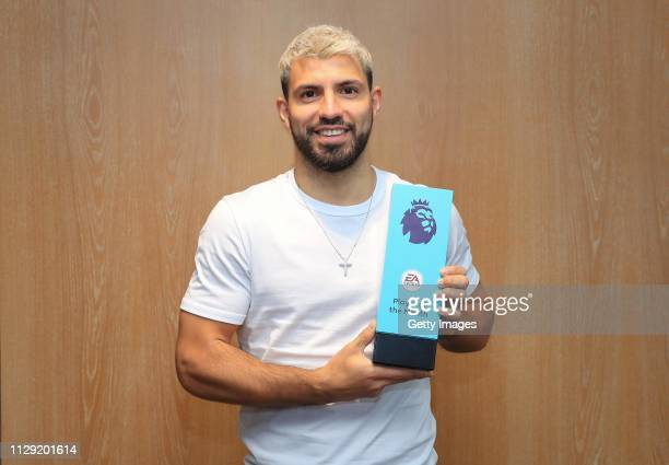 Sergio Aguero poses with his EA Sports Player of the Month Award for February 2019 at Manchester City Football Academy on March 7 2019 in Manchester...