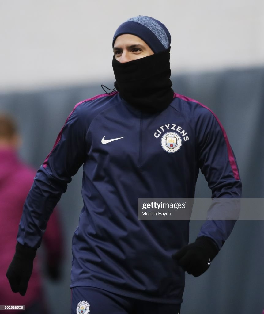 Sergio Aguero reacts during training at Manchester City Football Academy on January 8, 2018 in Manchester, England.