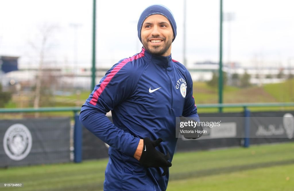Sergio Aguero reacts during training at Manchester City Football Academy on February 8, 2018 in Manchester, England.