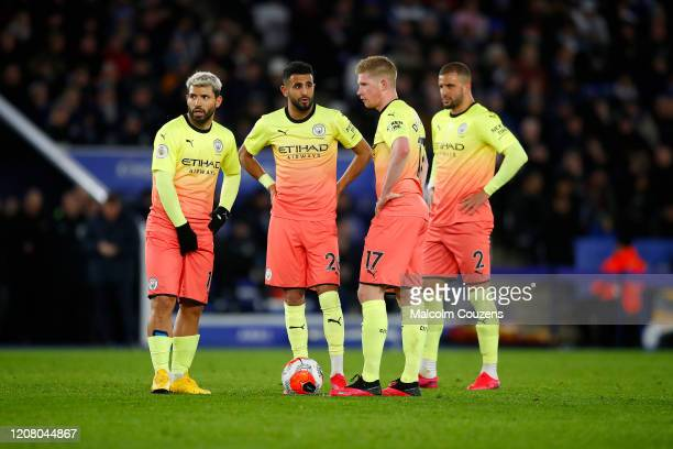 Sergio Aguero Riyad Mahrez Kevin De Bruyne and Kyle Walker of Manchester City prepare to take freekick during the Premier League match between...