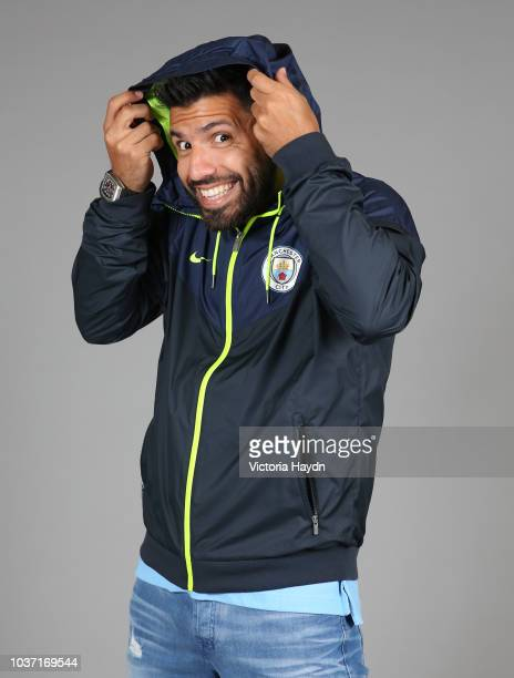 Sergio Aguero takes part in media and photography activations at Manchester City Football Academy on September 21 2018 in Manchester England