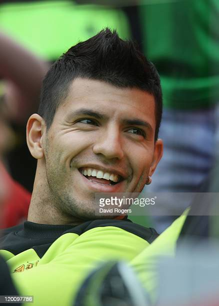 Sergio Aguero, the Manchester City new signing, looks on during the Dublin Super Cup match between Manchester City and Airtricity XI at Aviva Stadium...