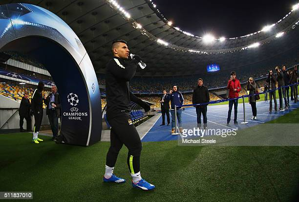 Sergio Aguero walks out of the tunnel during a Manchester City training session ahead of their UEFA Champions League round of 16 match against Dynamo...