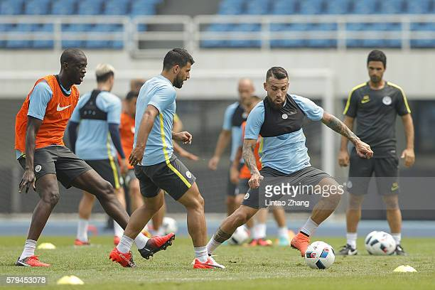 Sergio Aguero with Nicolas Otamendi of Manchester City in action during a training session of the 2016 International Champions Cup match between...