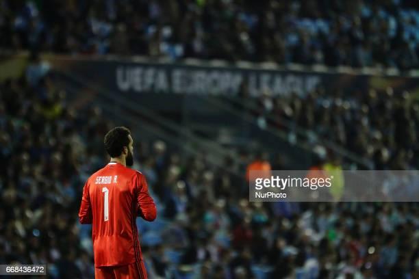 Sergio Alvarez goalkeeper of Celta de Vigo during the UEFA Europe League Round of 4 first leg match between Celta de Vigo and KRC Genk FC at Balaidos...