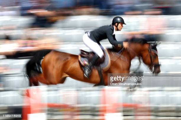 Sergio Alvarez Moya of Spain riding Jet Run competes during Day 3 of the Longines FEI Jumping European Championship speed competition against the...