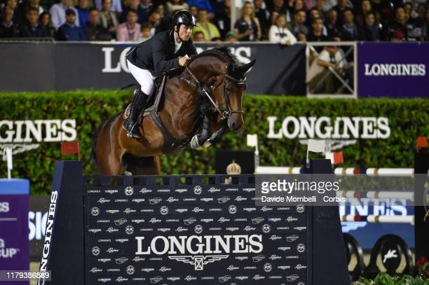Sergio Alvarez Moya riding Jet Run of Spain during Longines FEI Jumping Nations Cup Final Challenge Cup on October 5 2019 in Barcelona Spain