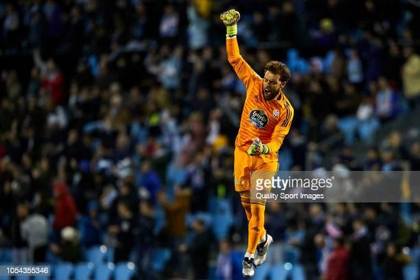 Sergio Alvarez of Celta de Vigo celebrates his team third goal during the La Liga match between RC Celta de Vigo and SD Eibar at AbancaBalaidos...