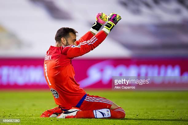 Sergio Alvarez of Celta Vigo celebrates after his teammate Iago Aspas scored his team's third goal during the La Liga match between Celta Vigo and FC...