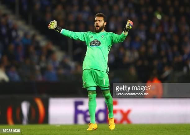 Sergio Alvarez of Celta Vigo celebrates as Pione Sisto of Celta Vigo scores their first goal during the UEFA Europa League quarter final second leg...