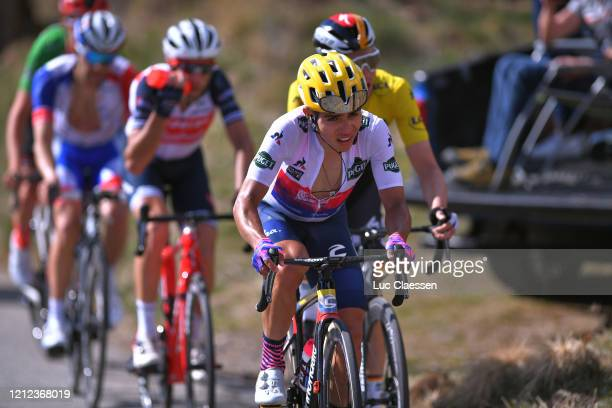 Sergio Andres Higuita of Colombia and Team Ef Education First White Best Young Jersey / Maximilian Schachmann of Germany and Team Bora - Hansgrohe...