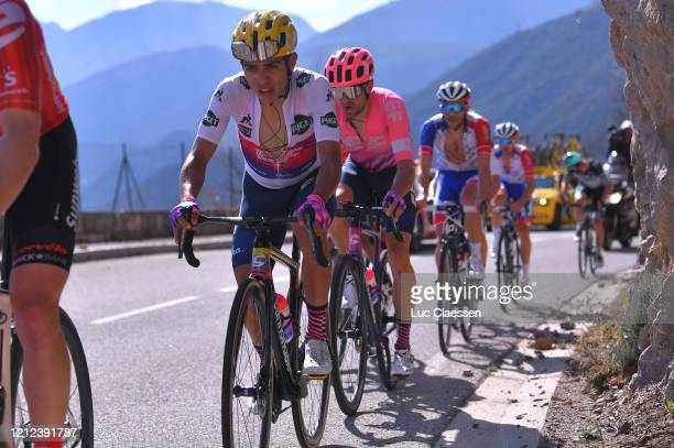 Sergio Andres Higuita of Colombia and Team Ef Pro Cycling White Best Young Jersey / Tanel Kangert of Estonia and Team Ef Education First / during the...
