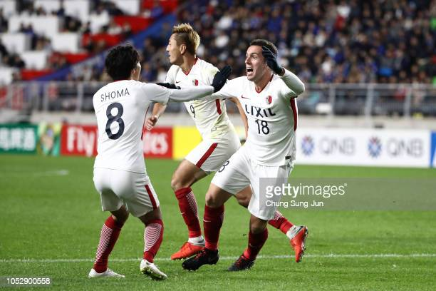 Sergio Antonio Junior of Kashima Antlers celebrates after scoring a third goal during the AFC Champions League semi final second leg match between...