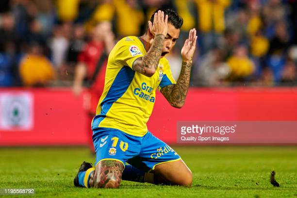 Sergio Araujo of Las Palmas reacts during the match between Las Palmas and Rayo Vallecano at Estadio Gran Canaria on December 21 2019 in Las Palmas...