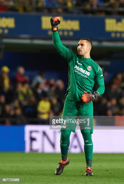 Sergio Asenjo of Villarreal CF celebrates after scoring a goa during the La Liga match between Villarreal CF and Levante Union Deportiva at Estadio...