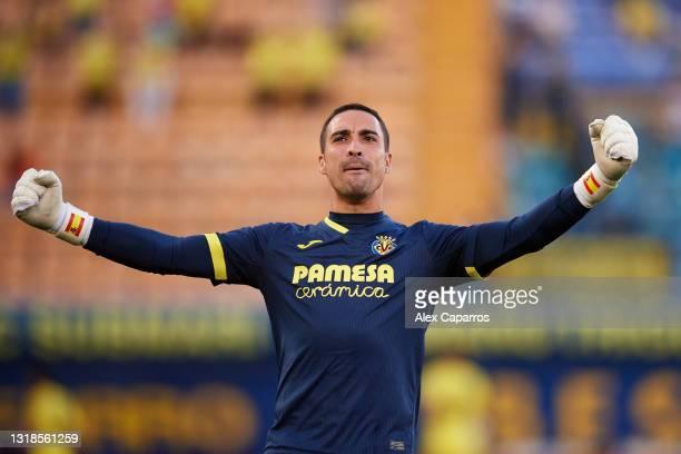 Sergio Asenjo of Villarreal CF celebrates his sides fourth goal scored by Carlos Bacca during the La Liga Santander match between Villarreal CF and...