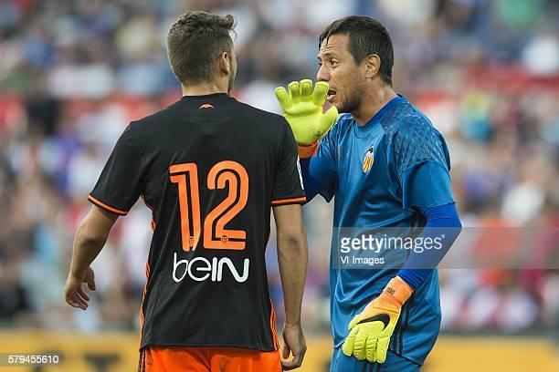 Sergio Ayala of Valencia CF goalkeeper Diego Alves of Valencia CF during the preseason friendly match between Feyenoord and Valencia on July 23 2016...