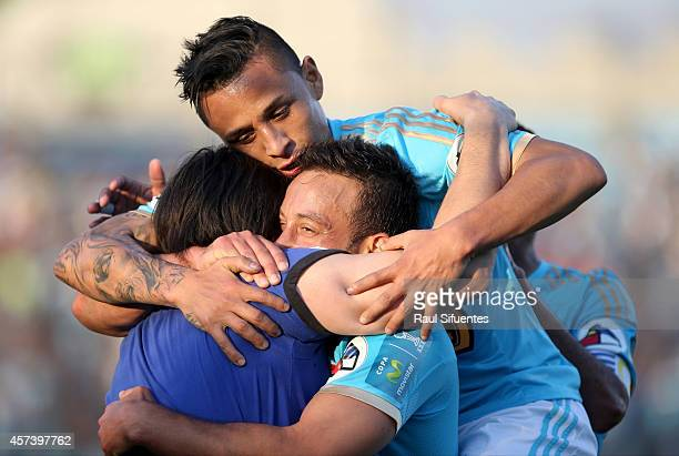 Sergio Blanco of Sporting Cristal celebrates a scored goal against Juan Aurich during a match between Sporting Cristal and Juan Aurich as part of...