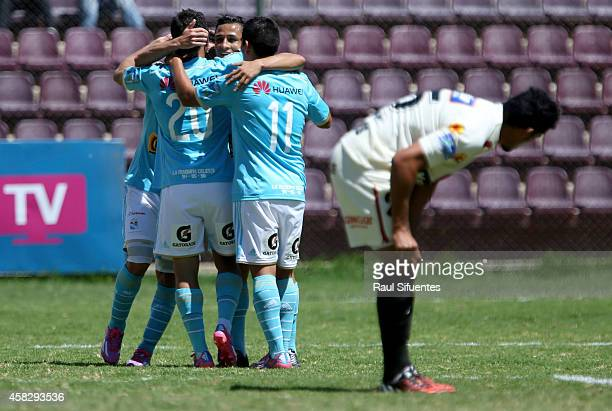 Sergio Blanco of Sporting Cristal celebrates after scoring the second goal of his team against Leon de Huanuco during a match between Leon de Huanuco...