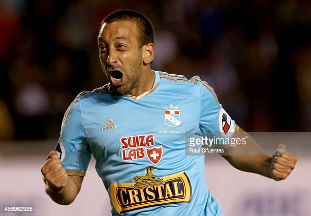 Sergio Blanco of Sporting Cristal celebrates the first goal of his team against Alianza Lima during a final match between Alianza Lima and Sporting...
