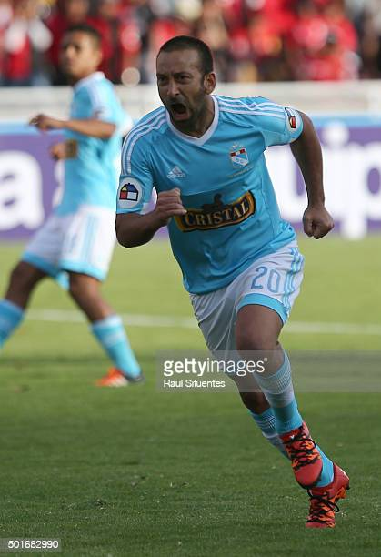 Sergio Blanco of Sporting Cristal celebrates the second goal of his team against FBC Melgar during a second leg final match between FBC Melgar and...