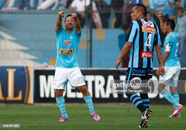 Sergio Blanco of Sporting Cristal of Sporting Cristal celebrates after scoring the first goal of his team during a match between Sporting Cristal and...