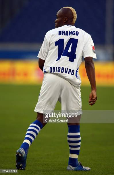 Sergio Branco of Duisburg is seen during the 2nd Bundesliga match between MSV Duisburg and Hansa Rostock at the MSV Arena on August 18 2008 in...