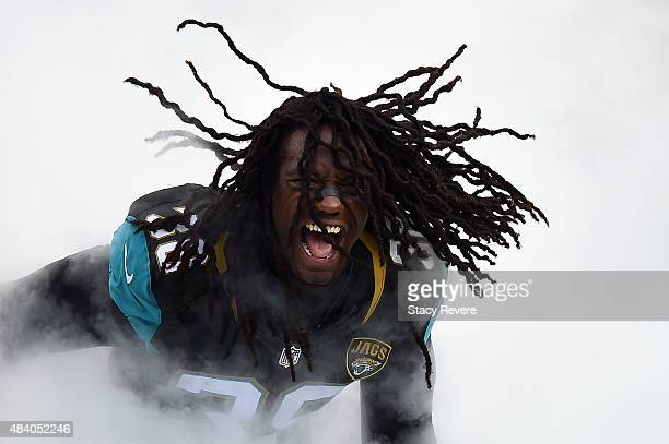 Sergio Brown of the Jacksonville Jaguars takes the field prior to a preseason game against the Pittsburgh Steelers at EverBank Field on August 14...