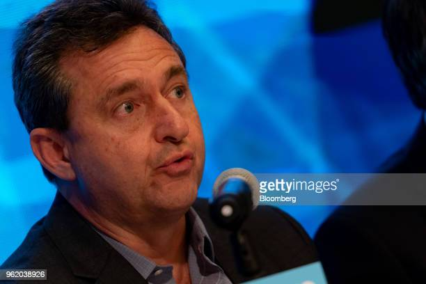 Sergio Buniac president of Motorola and senior vice president of Lenovo Group Ltd speaks during a news conference in Hong Kong China on Thursday May...