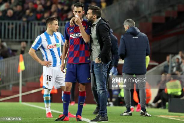 Sergio Busquets and Eder Sarabia during the match between FC Barcelona and Real Sociedad corresponding to the week 27 of the Liga Santander played at...