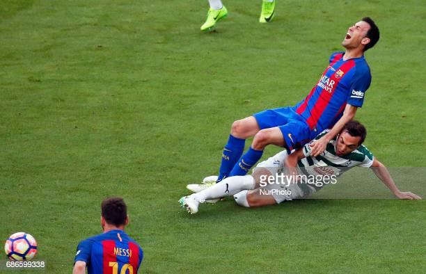 Sergio Busquets and Escalante during La Liga match between FC Barcelona v SD Eibar in Barcelona on May 21 2017