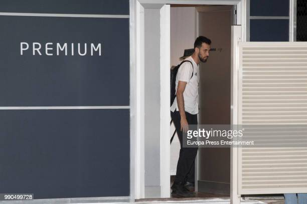 Sergio Busquets arrives at Barajas Adolfo Suarez international airport on July 2 2018 in Madrid Spain