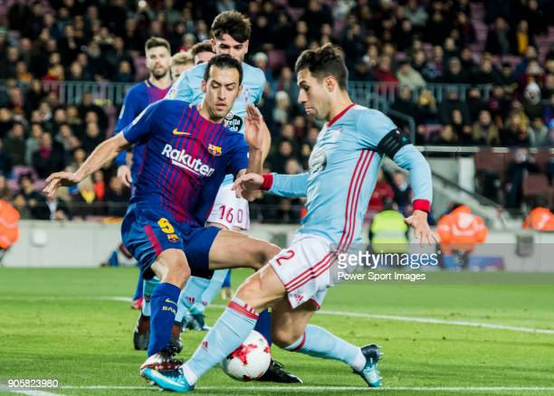 Sergio Busquets Burgos of FC Barcelona fights for the ball with Hugo Mallo Novegil of RC Celta de Vigo during the Copa Del Rey 201718 Round of 16...