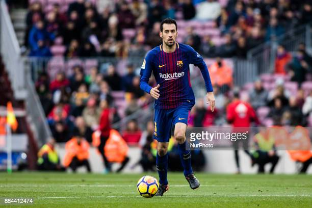 Sergio Busquets from Spain of FC Barcelona during the La Liga match between FC Barcelona v Celta de Vigo at Camp Nou Stadium on December 2 2017 in...