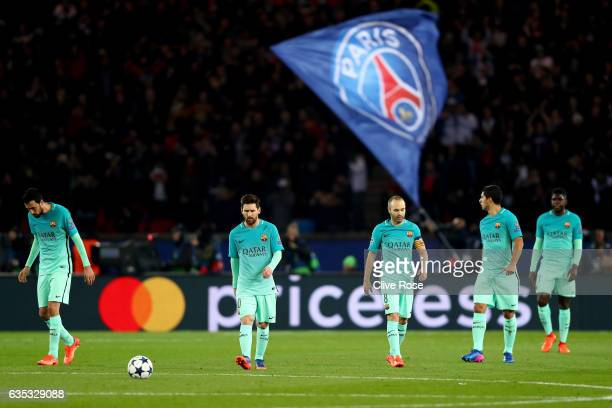 Sergio Busquets, Lionel Messi, Andres Iniesta, Luis Suarez and Samuel Umtiti of Barcelona react after conceding a goal during the UEFA Champions...