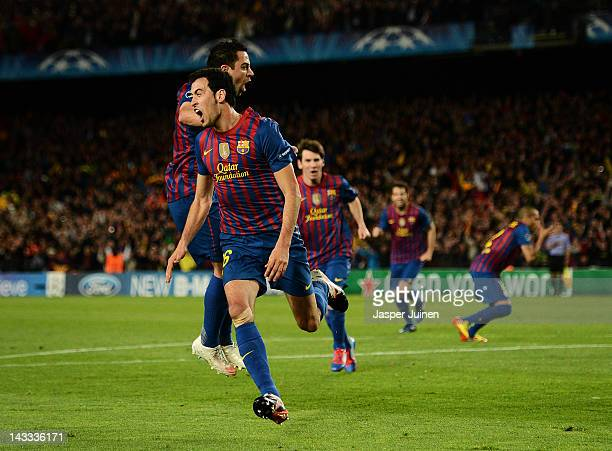 Sergio Busquets of Barcelona celebrates scoring his sides opening goal during the UEFA Champions League Semi Final second leg match between FC...